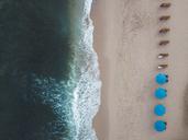 Indonesia, Bali, Aerial view of Balangan beach, empty sun loungers - KNTF01414