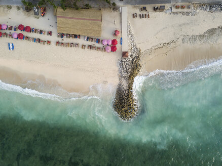 Indonesia, Bali, Aerial view of Pandawa beach, jetty - KNTF01428