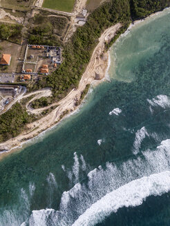 Indonesia, Bali, Aerial view of Temple complex at Payung beach - KNTF01483
