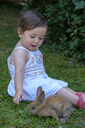 Portrait of content baby girl playing with young rabbit on a meadow - LBF02056