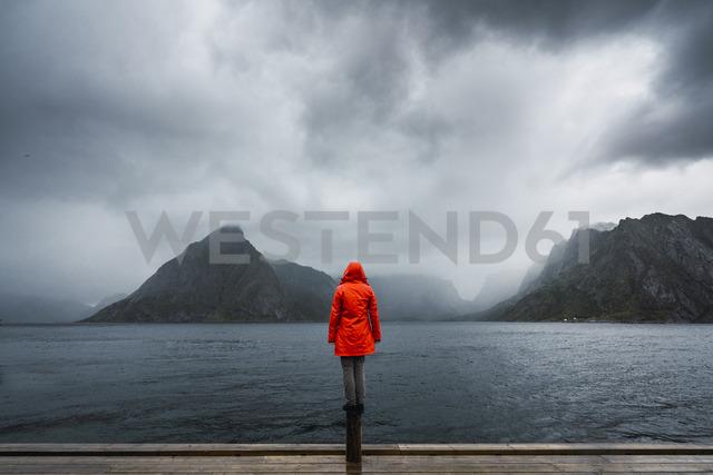 Norway, Lofoten, rear view of man balancing on a pole at the coast - KKAF01872 - Kike Arnaiz/Westend61