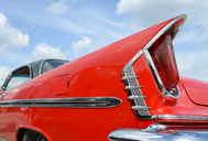 Detail of oldtimer, red DeSoto - RJF00807