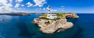Spain, Mallorca, Portocolom, Punta de ses Crestes, Cala Parbacana, Lighthouse - AMF05903