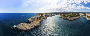 Spain, Mallorca, Portocolom, Aerial view of Punta des Jonc, Bay of Cala Marcal - AMF05913