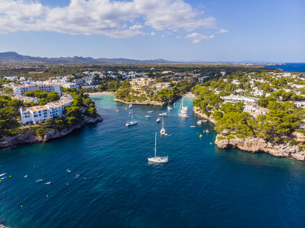 Spain, Mallorca, Portocolom, Aerial view of Cala d'Or and bay Cala Ferrera - AMF05932