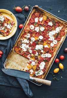 Tomato tart with goat cheese and thyme on mustard - IPF00482