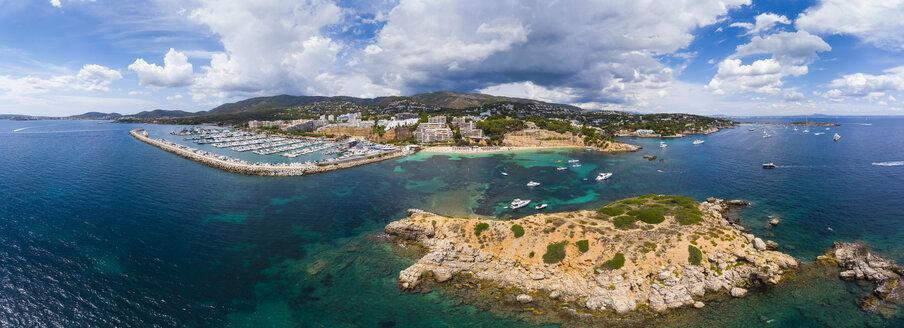 Spain, Balearic Islands, Mallorca, Aerial view of Portals Nous, Harbour Puerto Portals, beach Platja de S'Oratori and Illa d'en Sales - AMF05937