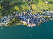Austria, Salzkammergut, Sankt Wolfgang, Aerial view of Lake Wolfgangsee - JUNF01281