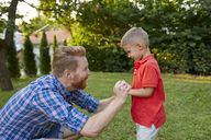 Happy father with his son in garden - ZEDF01553