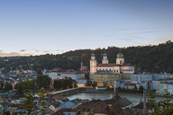 Germany, Bavaria, Passau, St. Stephen's Cathedral and Inn River in the evening - JUNF01287