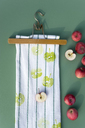 Textile printing on kitchen towel with apple halves - GISF00387