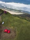 Indonesia, Bali, Aerial view of Nyang Nyang beach, VW beetle and observation point - KNTF01797
