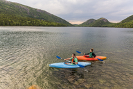 Couple kayaking on Jordan Pond in Acadia National Park, Maine, USA - AURF06166