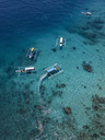 Indonesia, Bali, Aerial view of Blue Lagoon, banca boats - KNTF01814