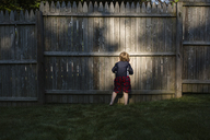 Rear view of boy peeking through wooden fence while playing at backyard - CAVF48763