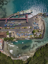 Indonesia, Bali, Aerial view of Padangbai, port from above - KNTF01849