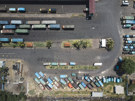Indonesia, Bali, Aerial view of Padangbai, port from above - KNTF01852