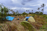Campsite with tents in tropical scenery, Nusa Penida, Bali, Indonesia - AURF06779