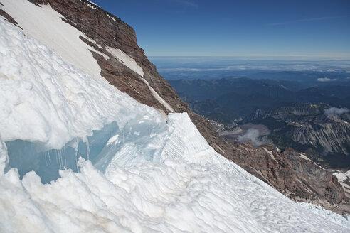 Large crevasse on Emmons-Winthrop Glacier route on Mount Rainer, Mount Rainier National Park, Washington State, USA - AURF06962