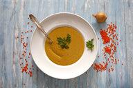 Dish of red lentil soup - JTF01086