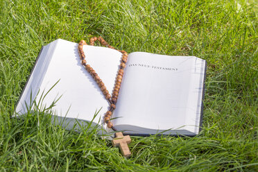 Bible with rosary on green grass - CMF00859