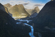 New Zealand, South Island, Fjordland National Park, Aerial view of Milford Sound - MKFF00397