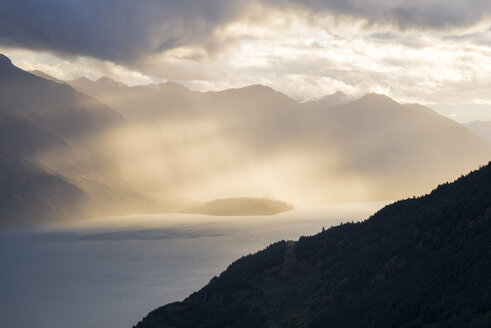 New Zealand, South Island, Crown Range, Lake Wakatipu at sunset - MKFF00406