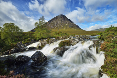 United Kingdom, Scotland, Glencoe, Highlands, Glen Coe, Coupall Falls of River Coupall with mountain Buachaille Etive Mor in background - RUEF01996