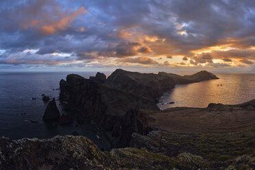 Portugal, Madeira, Sunset at the coast near Ponta de Sao Lourenco at sunrise - RUEF02017