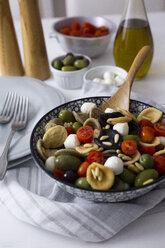 Mediterranean orecchiette with tomato, olives, mozzarella - GIOF04537