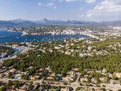 Spain, Balearic Islands, Mallorca, Aerial view of Santa Ponca, Serra de Tramuntana in the background - AMF05966