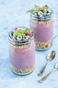 Two glasses of yoghurt with peanut granola, aronia powder and topping of chopped hazelnuts and frozen berries - JUNF01305