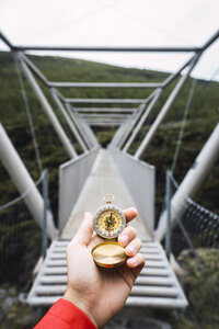 Hand holding a compass, Lapland, Norway - KKAF02286