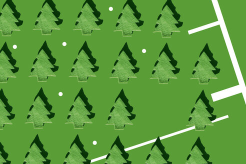 Rows of green Christmas trees and white dots on green ground, 3D Rendering - ERRF00036