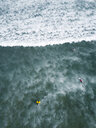 Indonesia, Bali, Aerial view of Balngan beach, surfer - KNTF01927