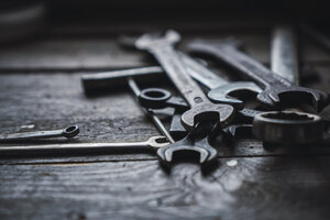 Group of wrenches on wood - KKAF02399