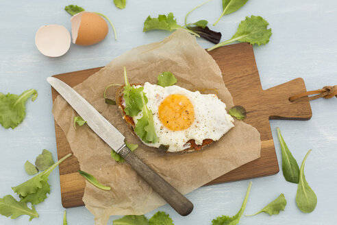Fried egg on slice of brown bread coated with paprika cream on baking paper - JUNF01367
