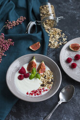 Bowl of natural yoghurt with fruit muesli, raspberries, figs and pomegranate seed - JUNF01431