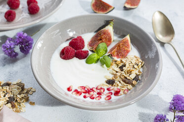 Bowl of natural yoghurt with fruit muesli, raspberries, figs and pomegranate seeds - JUNF01434