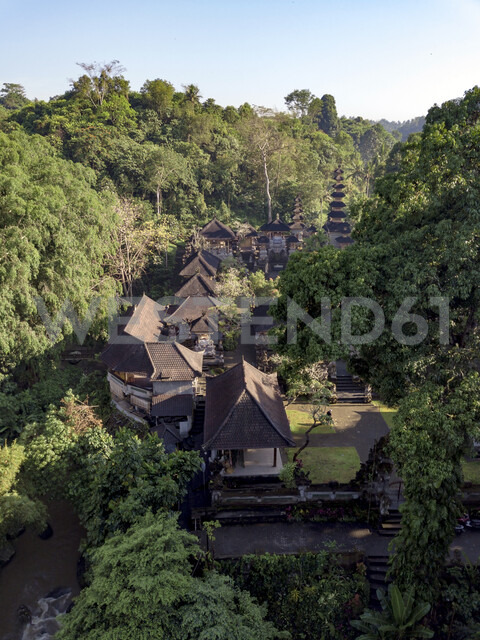 Indonesia, Bali, Ubud, Aerial view of Balinese temple - KNTF01989