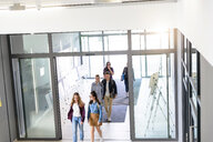 Students entering college building by glass doors - CUF44348