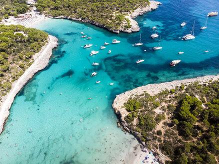 spain, Balearic Islands, Mallorca, Aerial view of Cala Mondrago and Playa Mondrago, Mandrago Nature Park - AMF06011