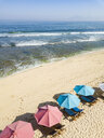 Indonesia, Bali, Aerial view of Balangan beach, sunloungers and beach umbrellas - KNTF02054