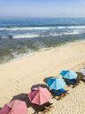 Indonesia, Bali, Aerial view of Balangan beach, sunloungers and beach umbrellas - KNTF02054
