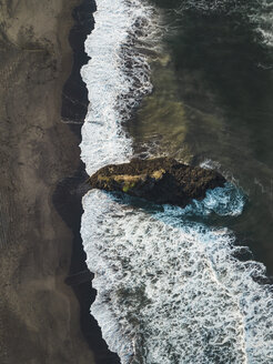 Indonesia, Bali, Aerial view of Yeh Gangga beach from above, rock - KNTF02060