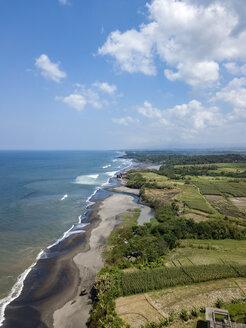 Indonesia, Bali, Aerial view of Yeh Gangga beach - KNTF02078