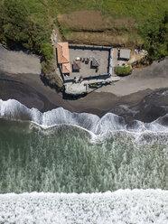 Indonesia, Bali, Aerial view of Yeh Gangga beach, Yeh Gangga Temple - KNTF02087