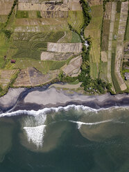 Indonesia, Bali, Aerial view of Yeh Gangga beach from above - KNTF02090