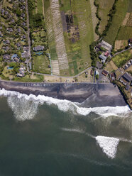 Indonesia, Bali, Aerial view of Yeh Gangga beach from above - KNTF02093