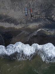 Indonesia, Bali, Aerial view of Yeh Gangga beach, banca boats - KNTF02108